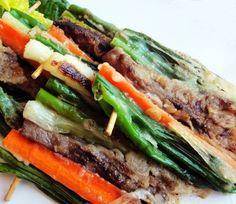 Skewered pancakes with vegetables and beef (pasanjeok)
