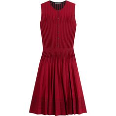 Alexander McQueen Pleated Mini Dress (5,845 MYR) ❤ liked on Polyvore featuring dresses, red, day to night dresses, short dresses, mini dress, short red dress and wet look mini dress