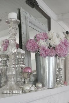 stunning vignette with mercury glass