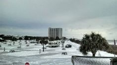 "Ocean Lakes Campground and RV Resort in Myrtle Beach, SC on 1/29/14 - This is where I keep my ""beach retreat"". Winter storm Leon provided a rare snow/ice event for the coast. (official Facebook page)"