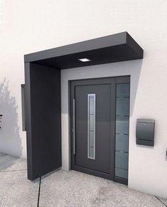 Ideas Front Door Porch Canopy House For 2020 Door Canopy Modern, Front Door Canopy, Modern Entrance Door, Front Door Porch, Modern Front Door, House Front Door, Front Door Design, House Doors, House With Porch