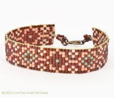 Free Loom Bead Patterns | Moroccan Coral Loom Beaded Bracelet