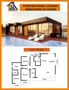 Full House Prefabricados Modern House Floor Plans, Flat Roof House, Beautiful House Plans, Casas Containers, Apartment Floor Plans, Modern Pools, House Blueprints, Sims House, Tiny House Design