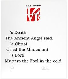 The Book of Love Poem - The Word by Robert Indiana (Serigraph)