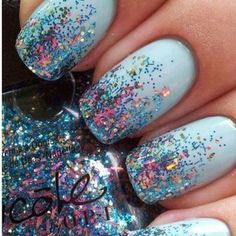 light blue nails with sparkly tips