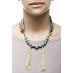 Beautiful necklace with a unique fabric & recycled leather combination Asian inspired teal beads and golden tassels Handmade fashion Montreal