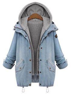 Light Blue Plain 2-in-1 Hooded Fashion Coat