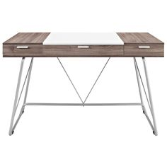 <p>Witness the continual infusion of dual-toned elements with the Panel desk. Made from Melamine covered fiberboard, Panel artfully flanks a solid white center with natural wood-grain toned ends. There are three easy pull-out storage drawers across the length of Panel that make sure all your pads, pens, and other supplies are close at hand. The metal tube base adds a pleasant finish to this contemporary piece perfect for work or home.<br />Set Includes:<br />One - Panel Desk</p><p>Overall…