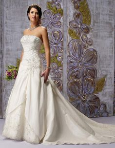 Strapless dropped waist A-line taffeta wedding dress