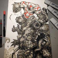 Monster mash for dinner tonight #battleberzerkerbalto #art #ink #headache #twitter #pinterest #tumblr #blogger #copic #markers #kuretakezig #monster #lebron #nba #hashtagabuse #nightcap