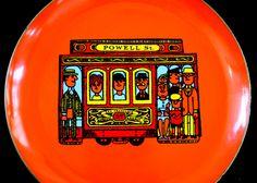 Powell Street Trolley Orange Tray / Platter by SlipperyCrockery