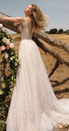 gala galia lahav spring 2017 sleeveless deep vneck aline wedding dress (711) mv pocket train