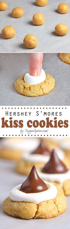 Hershey S'mores Kiss Cookies S'mores heaven! These Hershey S'mores Kiss Cookies are almost too adorable to eat and small so you can have as many as you want, right? Crinkle Cookies, Brownie Cookies, Cookie Desserts, Yummy Cookies, Just Desserts, Sugar Cookies, Yummy Treats, Cookie Recipes, Delicious Desserts