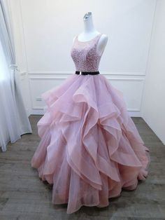 2018 Long Prom Dress,Sexy Blush Pink Prom Gown,Evening Dress With Sash from Sexy prom dress Cute Prom Dresses, Ball Dresses, Pretty Dresses, Sexy Dresses, Beautiful Dresses, Ball Gowns, Evening Dresses, Pink Dresses, Dress Prom