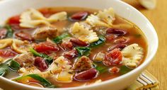 Hearty vegetable soups with pasta are a favorite in Italian kitchens. The addition of turkey sausage makes this soup satisfying enough to be a meal in itself.
