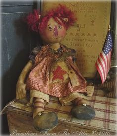 Annie Primitive Doll Patterns, Primitive Folk Art, Sewing Crafts, Sewing Projects, Christmas Swags, Raggedy Ann And Andy, Bear Doll, Rag Dolls, Handmade Dolls