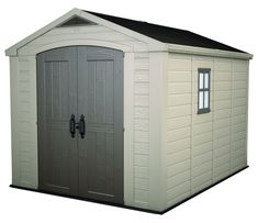 x 11 ft. Plastic Outdoor Storage Shed, Browns/Tans gartenhaus Keter Factor 8 ft. x 11 ft. Plastic Outdoor Storage - The Home Depot Garden Storage Shed, Outdoor Storage Sheds, Storage Shed Plans, Diy Shed, Outdoor Sheds, Garage Storage, Bike Storage, Plastic Storage Sheds, Plastic Sheds