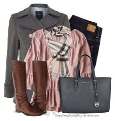 """""""Gray Pea coat , Tiered pink top & Plaid scarf"""" by steffiestaffie ❤ liked on Polyvore featuring American Eagle Outfitters, GANT, Burberry, MICHAEL Michael Kors and Blue Nile"""