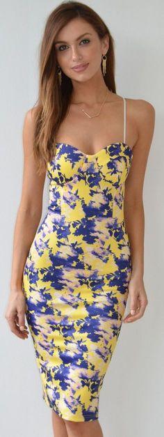 Yellow And Blue Floral Midi Sheath Dress