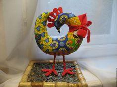 Fabric toy Rooster / Купить Петушок текстильный - комбинированный, петух, петушок, символ 2017 года, подарок на новый год маме