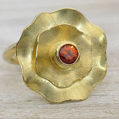 Handmade Spessartite Flower Ring In 18ct Gold by Lilia Nash Jewellery