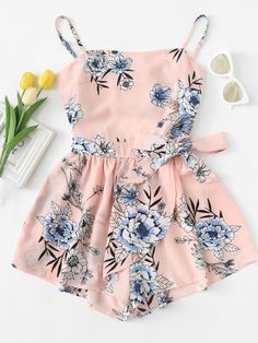 Cut Out Back Floral Cami RomperFor Women-romwe Cute Comfy Outfits, Cute Girl Outfits, Cute Summer Outfits, Girly Outfits, Pretty Outfits, Kids Outfits, Cool Outfits, Tomboy Outfits, Spring Outfits