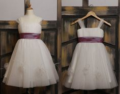Tulle Sashed Flower Girl Dress. Dress and sash can be made in over 120 different colors! Sizes infant to adult!