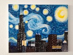 Starry Night Chicago Acrylic Painting by PaintingsbyAhva on Etsy, $469.00