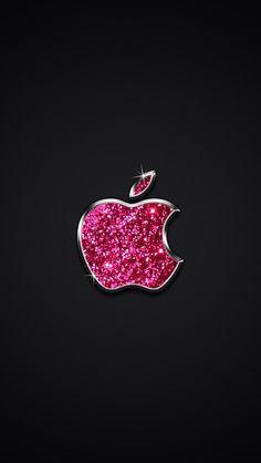 Sparkly Pink Apple On Black