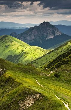 Hiking trail in the picturesque Malá Fatra mountains in Slovakia, of the most beautiful unspoiled regions in Central Europe.