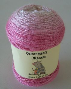 Silky Lace 50 - 50gm gradient dyed laceweight pink silk/wool blend yarn. Cherry Blossom by OzifarmersMarket on Etsy