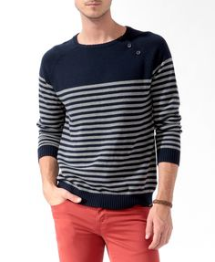 Buttoned Striped Sweater | 21 MEN - 2021839980