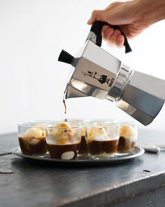 This will definitely be served in the near future! Vanilla gelato (or ice cream) with espresso poured over and a bean for garnish. So simply elegant!