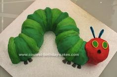 Homemade Very Hungry Caterpillar Cake: My nephew asked for a Very Hungry Caterpillar cake and so I went on a mission to make the perfect one. I figured I needed something that would make a curved