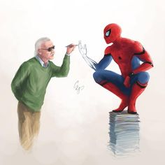 Art print / poster of Stan Lee and Spiderman - Marvel Universe Marvel Jokes, Funny Marvel Memes, Marvel Heroes, Marvel Avengers, Spiderman Marvel, Spiderman Poster, Marvel Comics Art, Spiderman Anime, Stan Lee Spiderman
