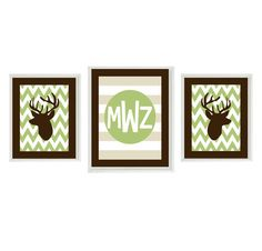 Deer Nursery Art Chevron - Monogram Print Set - Brown Tan Green -  Boy Room Hunting Personalize - Wall Art Home Decor Set 2- 8x10 1-11x14