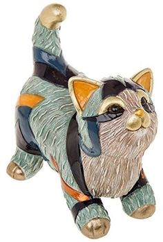 Gallery Cats Collection - Comes In A Gift Box This Is The Kitten Playing Figurine Made From Resin, Highly Detailed & Decorated With Glass Tiles Colour: Blue/Gold/Orange & Neutral Tones Size: 16cm x 16cm