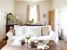 Rustic Retreat: with loose white linen covers and lots of padding, the 'Ektorp' sofa from Ikea looks and feels incredibly comfortable. Queenslander House, Blue Master Bedroom, Houses In France, Cottage Living Rooms, White Rooms, White Walls, Cozy Cottage, Inspired Homes, Rustic Chic