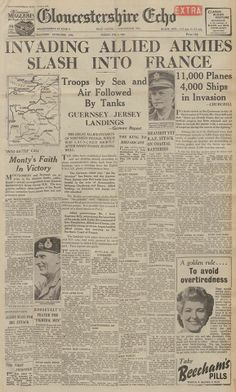 The Gloucestershire Echo reporting on the D-Day landings of seventy years ago.