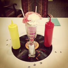 Fabulous 50's sock hop theme centerpieces by extremely talented chicks!