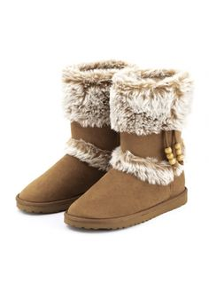 Faux-Shearling Flap Collar Snow Boots Camel