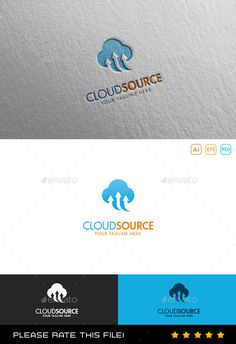 Cloud Logo (Transparent PNG, Vector EPS, AI Illustrator, Resizable, CS, agency…