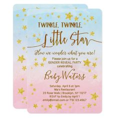 Twinkle, twinkle, little star, ONE year old is what you are! Celebrate birthdays and more with a twinkle twinkle little star theme. Also available: twinkle twinkle little star baby shower and gender reveal invitations. Gender Reveal Themes, Gender Reveal Party Invitations, Gender Reveal Decorations, Baby Gender Reveal Party, Gender Party, Baby Shower Invitations, Zazzle Invitations, Birthday Invitations, Bob Marley