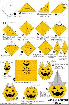 Origami Jack O' Lantern Case instructions