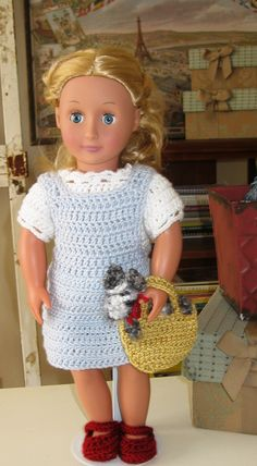 Pattern Crochet Dorothy and Toto Outfit for American Girl Wizard of Oz 18 inch doll clothes. $5.50, via Etsy.