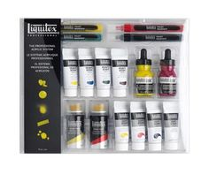 Liquitex 16 Pc Acrylic Mixed Media System Set, Paint Markers, Spray Paint, Ink and more! Painting Workshop, Painting Tools, Artist Painting, Painted Concrete Floors, Painting Concrete, Acrylic Tube, Acrylic Spray, Art Shed, Paint Brush Holders