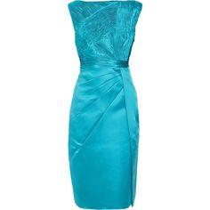 Valentino Pleated silk-satin dress (€1.440) ❤ liked on Polyvore featuring dresses, short dresses, valentino, vestidos, silk satin dress, pleated dress, blue cocktail dress, valentino dresses and short blue dresses
