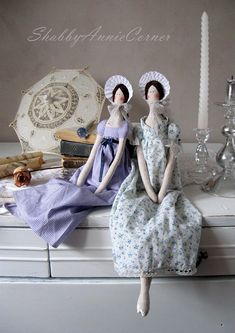Wonderful Jane Austen times looking character doll will be great joy for fans of Pride and Prejudice, Sense and sensibility or any other of her novels. Made from linen and one dressed in stripy white lilac cotton dress decorated with navy blue ribbon and second in country style tiny