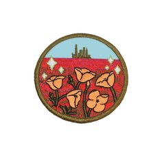 A beautiful sleepy poppy field with Oz standing promising in the background. cotton x circle patch Iron-on Designed by Rosehound Apparel Pin And Patches, Sew On Patches, Iron On Patches, Merit Badge, Cute Pins, Wizard Of Oz, Poppies, Diy Crafts, Embroidery