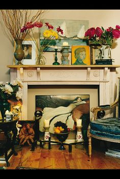 If you did not have a fireplace only a mantle ...this is one of the greatest ideas ever!!!!!